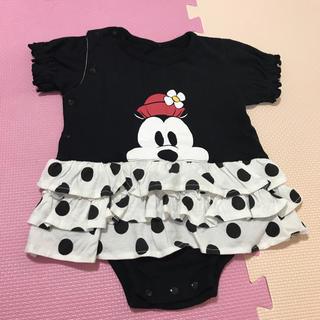 Disney - Disney ミニー 重ね着風 ロンパース 黒 ブラック 80 綿100%