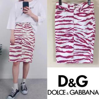 ドルチェアンドガッバーナ(DOLCE&GABBANA)の90's DOLCE&GABBANA D&G ドルガバ レオパード スカート(ひざ丈スカート)