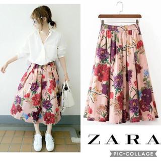 ZARA - ZARA ザラ 花柄 ピンク スカート フレアスカート