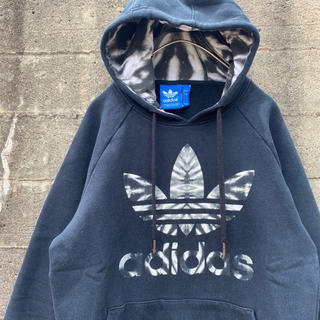 adidas - adidas originals スウェットパーカー 古着 ストリート ブラック