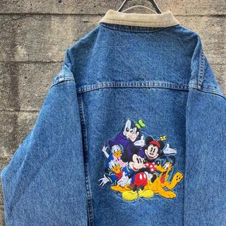 Disney - 激レア 90's DISNEY 刺繍 デニムジャケット 裏地チェック 古着