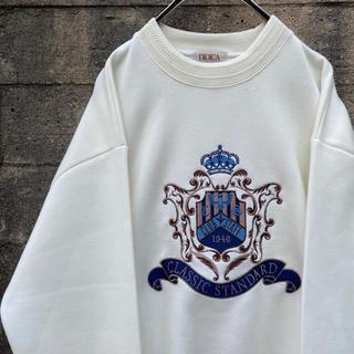 美品 古着 90's デザイン 刺繍 トレーナー クリームカラー ゆったり