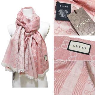 Gucci - 新品グッチGUCCIシルク混GG柄正方形ストール(スカーフ)ピンク