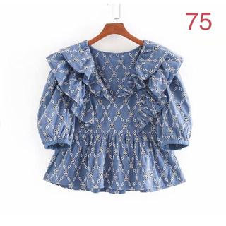 ZARA - パーフォレーション刺繍入りトップス ブルー バースデーバッシュ snidel