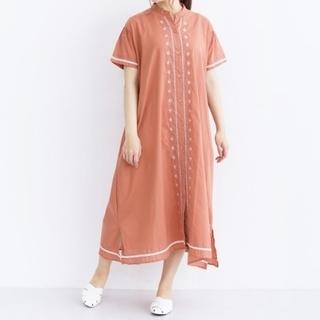 merlot - 【merlot メルロー】アナトミーフラワー刺繍前開きシャツワンピース