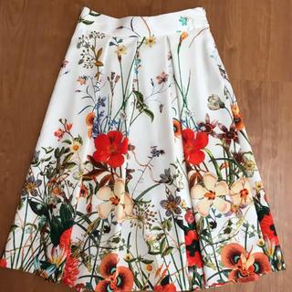 ZARA - ZARA  ザラ オレンジ 花柄スカート Aライン フレアスカート