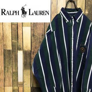 ラルフローレン(Ralph Lauren)の【ラルフローレン】エンブレム刺繍ロゴワッペン☆マルチストライプシャツ 90s(シャツ)