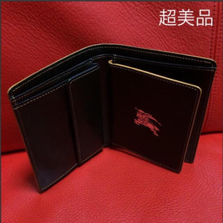 バーバリーブラックレーベル(BURBERRY BLACK LABEL)の希少 超美品 BURBERRY BLACK LABEL レザー 二つ折り財布(折り財布)