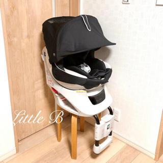 エールべべ*新生児対応フード付チャイルドシート*回転式*黒