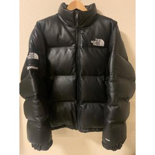 シュプリーム(Supreme)のsupreme Leather Nuptse Jacket XLサイズ(ダウンジャケット)