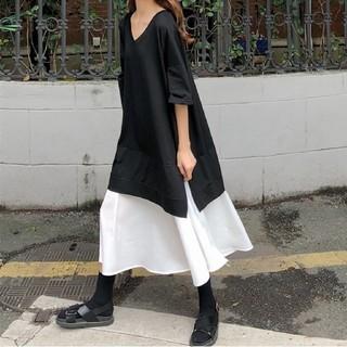 半袖のTシャツ ロング丈スカート 切り替えワンピース ゆったりサイズ 即日発送