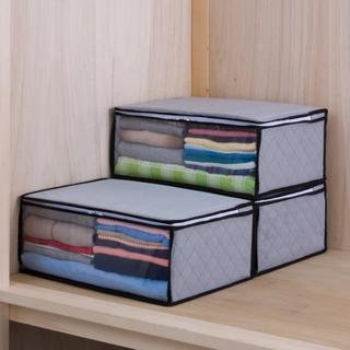 収納ボックス 衣類用 3個 グレー 不織布 375