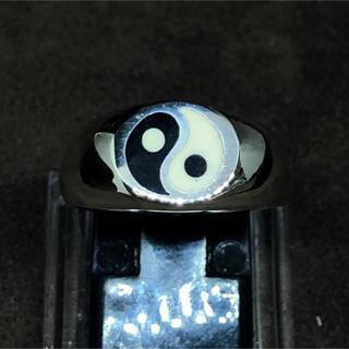 陰陽 オーバル シルバー925リング シグネット強運 風水 勾玉印台銀指輪ギフト(リング(指輪))