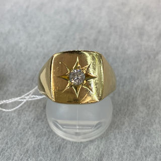新品  K18 ダイヤ付印台リング 20.5号 0.18ct[21]  (リング(指輪))