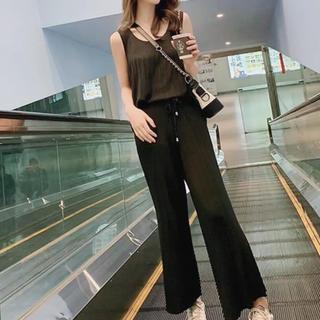 即日発送可 セットアップ ニットノースリーブ+ワイドパンツ 韓国ファッション
