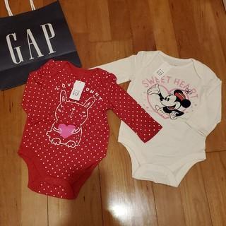 ベビーギャップ(babyGAP)の70 長袖ロンパース 2枚セット ミニー ウサギ(ロンパース)