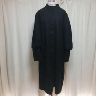 vintage ブラック 黒 マキシ丈 ロングコート
