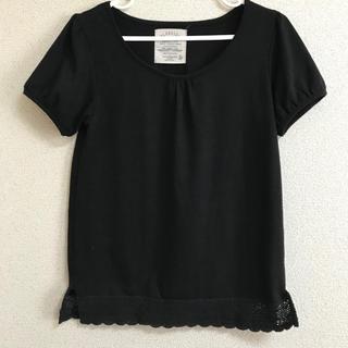 アフリカタロウ(AFRICATARO)の裾レース 黒Tシャツ シンプルカットソー(Tシャツ(半袖/袖なし))
