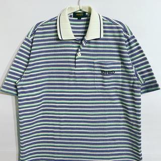 ケンゾー(KENZO)のKENZO ケンゾー 90s 刺繍ロゴ マルチカラー ポロシャツ ボーダー(ポロシャツ)