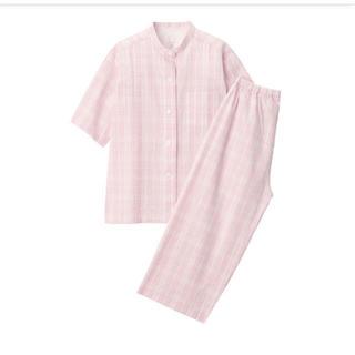 MUJI (無印良品) - 無印良品脇に縫い目のない サッカー織り半袖パジャマ 婦人M・ピンク×柄