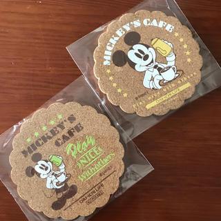 ディズニー(Disney)のコルク ミッキー のコースター 2枚セット 新品未使用(テーブル用品)