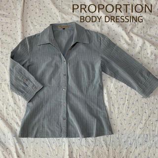 プロポーションボディドレッシング(PROPORTION BODY DRESSING)のクリーニング済み PBD グレー ストライプ 立体縫製 シャツ ブラウス(シャツ/ブラウス(長袖/七分))