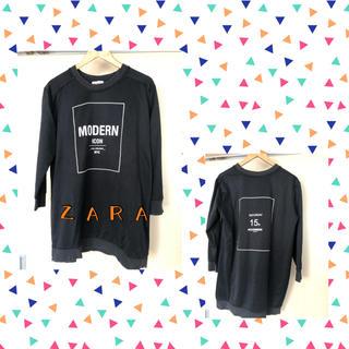 ザラ(ZARA)のZARA 黒 トレーナー ワンピース(トレーナー/スウェット)