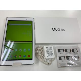 アンドロイド(ANDROID)の美品 SIMフリー Qua tab 02 HWT31 充電器付き ホワイト(タブレット)