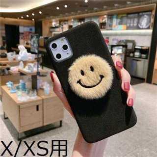 【iPhoneX/XS用】ブラックのふわふわニコちゃんケース