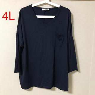 シマムラ(しまむら)の4L☆トップス☆Tシャツ☆ドルマン☆紺色☆大きいサイズ(Tシャツ(長袖/七分))