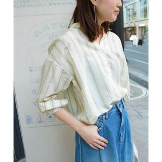 IENA SLOBE - 美品スローブイエナ テンセルラミーマルチストライプビッグシャツ ストライプシャツ