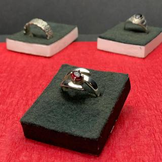 指輪 シルバー925  赤石(リング)