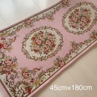 ゴブラン織り シェニール キッチンマット ロココ 姫系 薔薇ローズ❤️ピンク色②(キッチンマット)