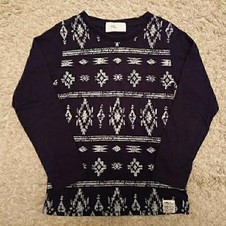 アズールバイマウジー(AZUL by moussy)のAZUL BY MOUSSY プリント 長袖 Tシャツ 130cm ネイビー 紺(Tシャツ/カットソー)