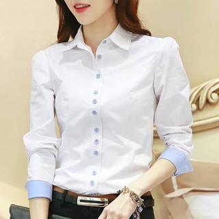 Lily Brown - バイカラーデザインシャツ(ブルー×ホワイト)