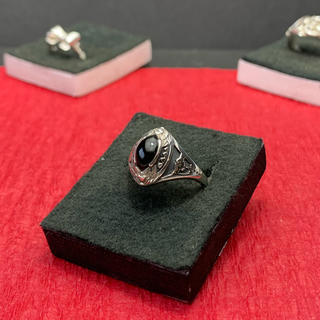 指輪 シルバー925  黒石(リング)