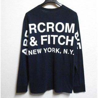 アバクロンビーアンドフィッチ(Abercrombie&Fitch)のアバクロ/US:XXL/ネイビー/バックプリントロゴ長袖Tシャツ(Tシャツ/カットソー(七分/長袖))