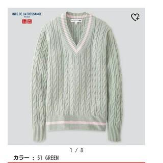 完売品 ユニクロ イネス クリケットVネックセーター グリーンS