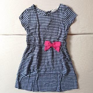 H&M - H&M꙳★*゚110紺色ボーダーワンピースピンクリボン