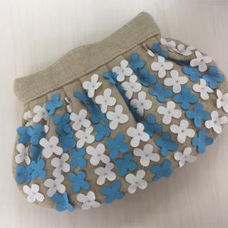 Maison de Reefur - MOYNA レアカラーのブルー 美品フラワークラッチバッグ