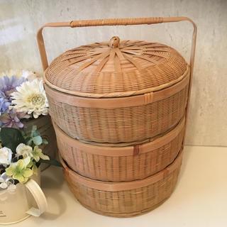 三段のキュートな籐の籠‼️(バスケット/かご)