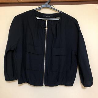 マカフィー(MACPHEE)のTOMORROWLAND MACPHEE 麻 ネイビー ショート丈のジャケット(ノーカラージャケット)