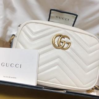 Gucci - 〔GGマーモント〕 キルティング ミニバッグホワイトレザー