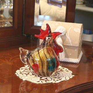 ガラスの置物 ニワトリ にわとり 鶏 チキン 鳥 ガラス雑貨 オーナメント(置物)