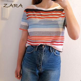 ザラ(ZARA)のZARA マルチボーダー リブTシャツ ザラ(Tシャツ(半袖/袖なし))