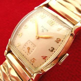 エルジン(ELGIN)の1952年 エルジン USA製 10金メッキ 手巻きアンティーク腕時計(腕時計(アナログ))