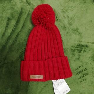 バーバリー(BURBERRY)のBURBERRY ニット帽 赤 新品(ニット帽/ビーニー)