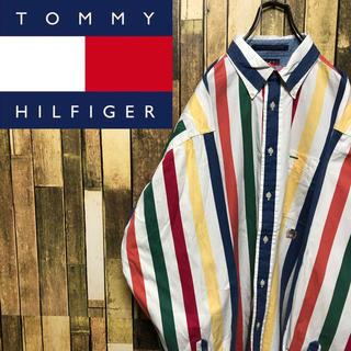 トミーヒルフィガー(TOMMY HILFIGER)の【トミーヒルフィガー】オールド刺繍ロゴ☆カラーマルチストライプシャツ90s(シャツ)