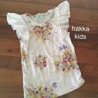 ハッカキッズ(hakka kids)のハッカキッズ フリル袖 トップス 半袖 ノースリーブ 花柄(Tシャツ/カットソー)