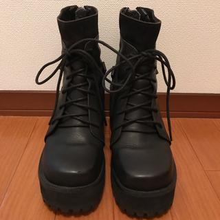 ユニフ(UNIF)のtr07様 UNIF ユニフ 厚底ブーツ 黒(ブーツ)